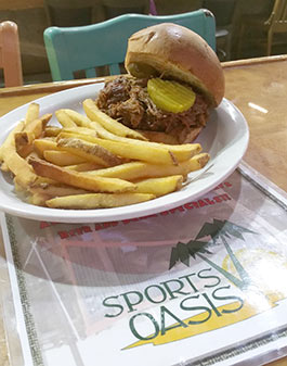 Oasis Volleyball Bar & Grill BBQ Sandwich